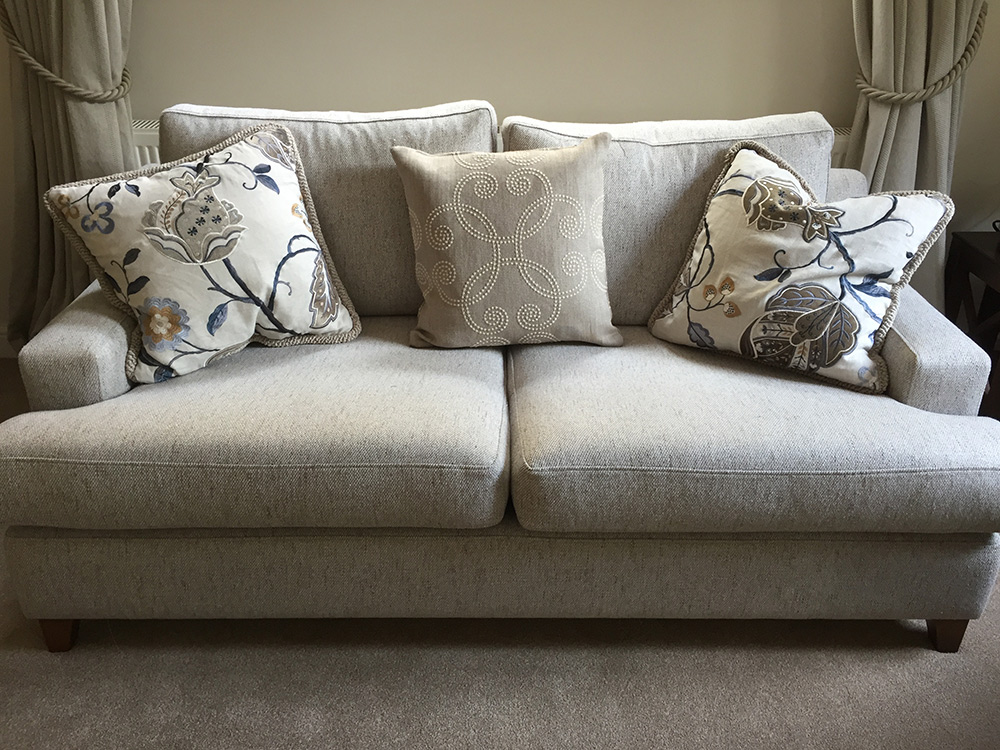 Sofa Cushions custom made in Surrey UK - contact Reid Interiors
